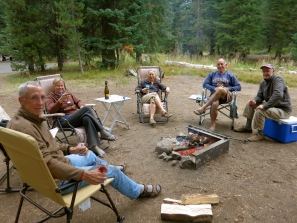 Terry with RV buddies Nina, Ellen, Paul, and Alex this summer