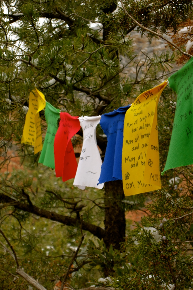 Prayer flags fluttering in the breeze