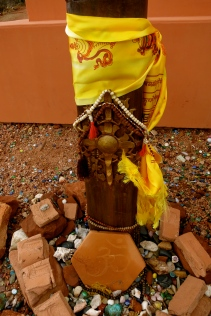 Offerings at the base of the Stupa