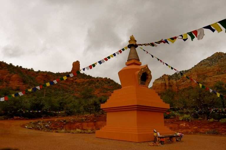 Amitabha Stupa with Chimney Rock in background