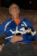 Terry and new puppy Kali after a busy day