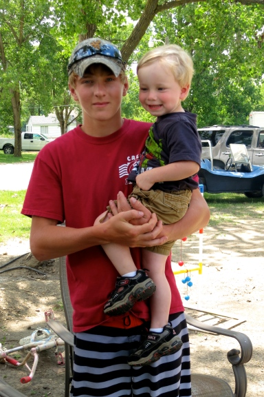 My godson Seth with his nephew Ty