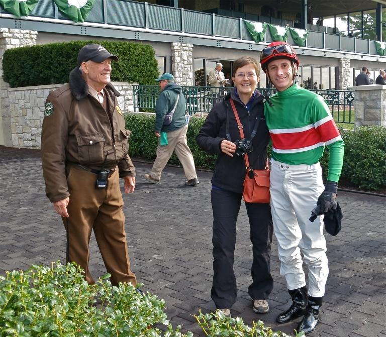 JR, me, and jockey Joseph Rocco.  I'm a happy girl!