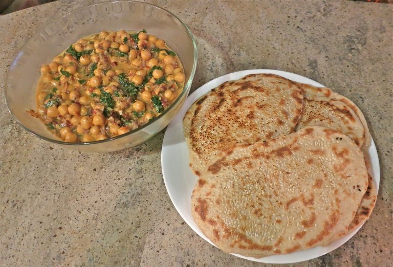 Coconut chickpea curry and naan - sooo yummy!