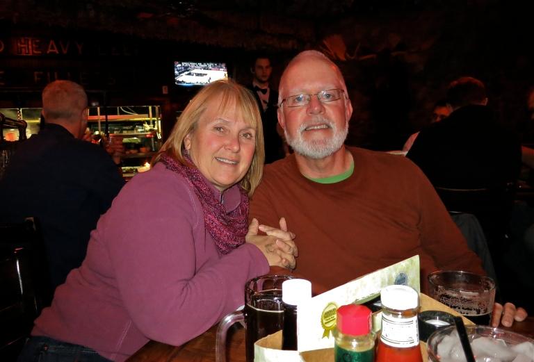Enjoying dinner with Janie & John at a local Irish pub
