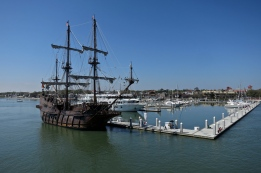 El Galeon Spanish ship, which sails over from Spain annually and sits in the harbor, ready to be toured.
