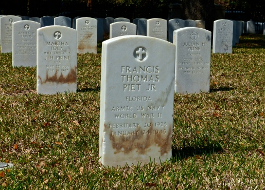 WW II gravestone at St. Augustine National Cemetery