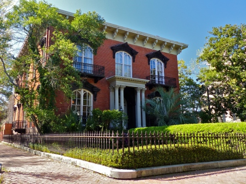 Mercer-Williams House on Monterey Square, featured prominently in John Berendt's book 'Midnight in the Garden of Good and Evil'.