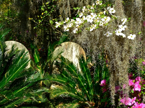 Headstones nestled among lush vegetation