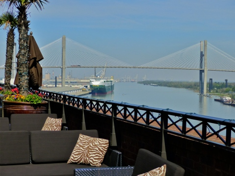 Talmadge Memorial Bridge seen from the Bohemian Hotel rooftop