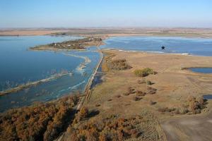 Aerial view of Devils Lake - photo credit Google