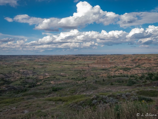 Clouds dance across the Painted Canyon, first stop in the park off Hwy. 94