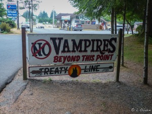 This sign did the trick. No vampire or werewolf sightings in the area.