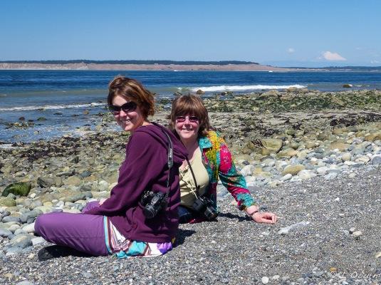 Celene & Ardythe on the beach, searching for sea glass