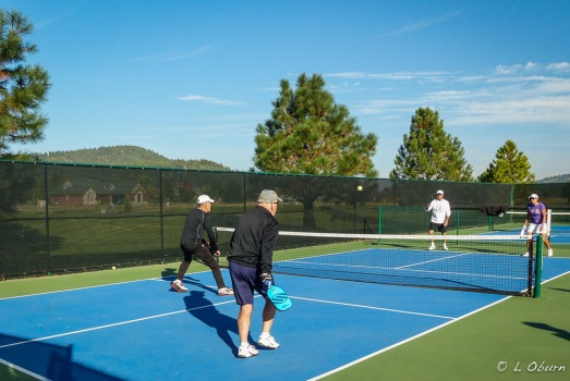 Terry and Frank pairing up for a game of pickleball