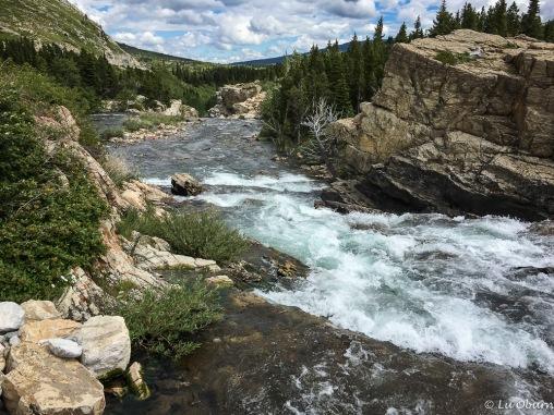 Rapids cascading through Lake Sherburne