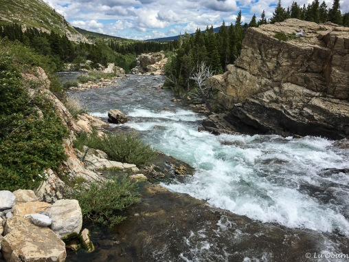 Rapids cascading through Lake Sherburne