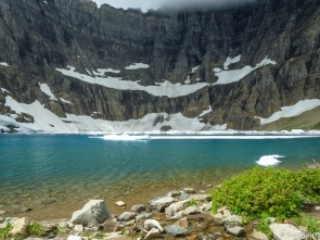 A few icebergs remain in Iceberg Lake.