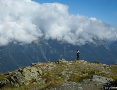 Terry taking a peek at Chamonix through the clouds