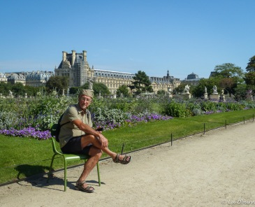 Terry practicing his Parisian look in the Tuileries Garden.