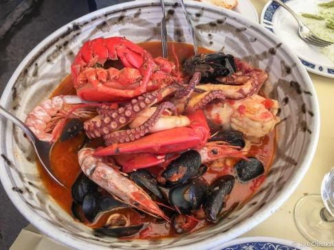 Lunch of mixed seafood stew at Ristorante Belvedere