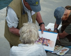 Watercolor class at the harbor.