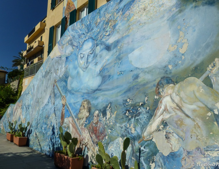 Beautiful murals speak of what life was like in Riomaggiore.