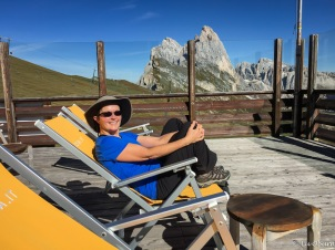 Relaxing in the sun at Seceda