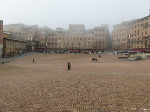 The famous Il Campo Square on a foggy morning