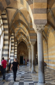 Interlaced arches line the cathedral's portico