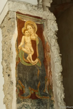 Beautiful fresco of Madonna with child