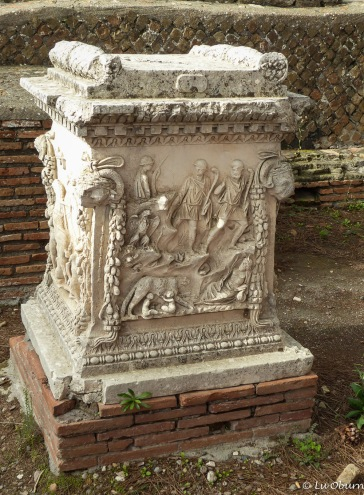 Small white altar which most likely was used to sacrifice animals to ask for favor from the gods.