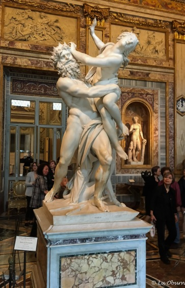 Bernini's The Rape of Proserpina – Pluto, King of the Underworld, showing off his catch, the beautiful daughter of the earth goddess, Ceres.