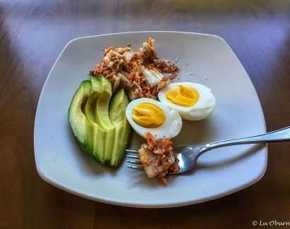 Breakfast of champs - kimchi, pastured egg, and avocado. Gimme some kimchi any day!