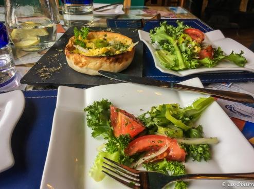 Sweetcorn pie and fresh garden greens...yum!