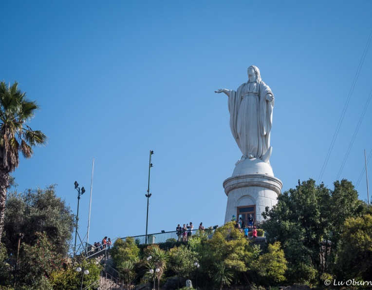 The Virgin Mary welcomes all to Santiago.