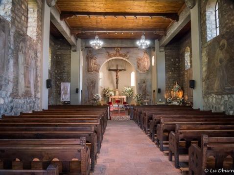 A peek inside the chapel atop Cerro San Cristobal.