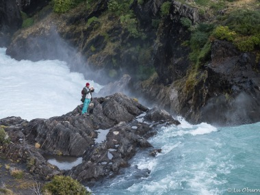 A foolish young man taking photos of the falls. Luckily no harm came to him.