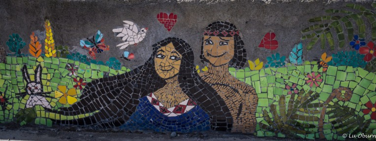Creative mosaics lined many walkways.