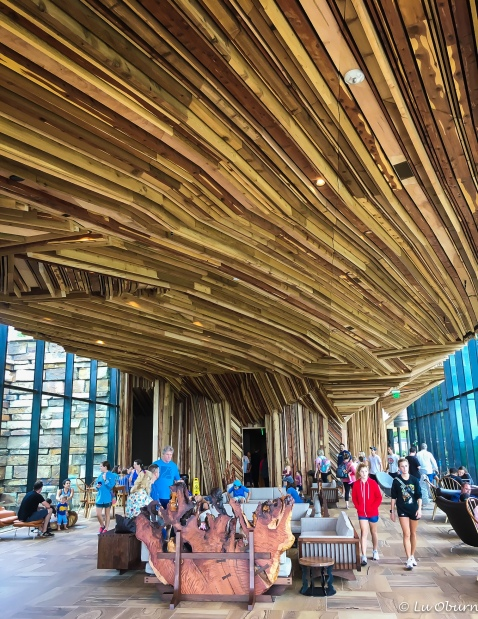 "Interesting wooden ceiling in a public building at the ""Gathering Place"", a completely free family park, which featured a lagoon with canoe rentals, children rides, walking paths, and a music venue."