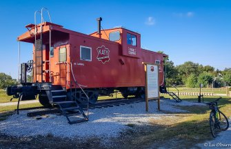 Old Katy railcar along the trail.