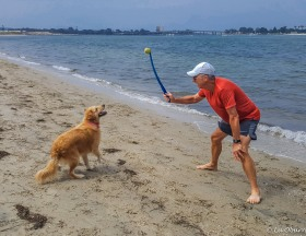 Kaia, teaching Terry the proper way to fetch.